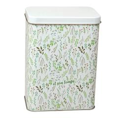 Achat en ligne Boite à biscuits en fer blanche avec fleurs vertes