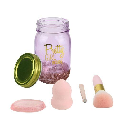 Coffret jar beauté 4 pièces rose