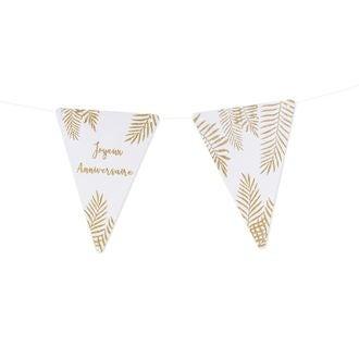 5 fanions blanc fourgères paillettes or joyeux anniversaire 15x21