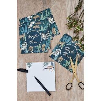 8 invitations jungle fever dégradé de vert et dorée 14x14cm
