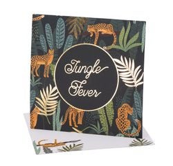 Achat en ligne 8 invitations jungle fever dégradé de vert et dorée 14x14cm