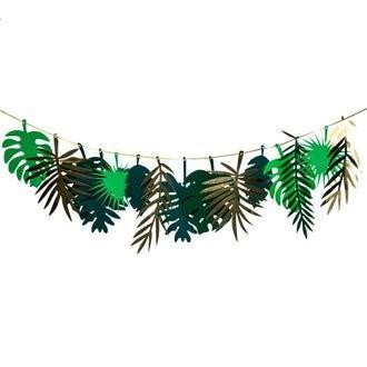 Guirlande feuilles tropicales or et dégradé de vert 2m