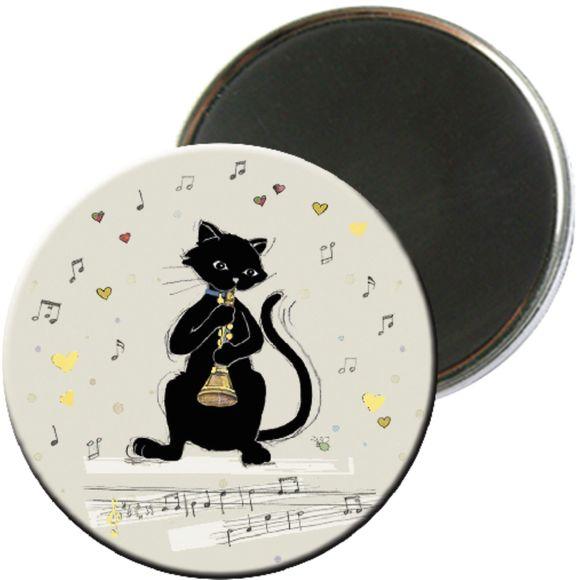 Achat en ligne Magnet rond chat musique hautbois