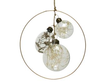 Suspension disques en verre et fleurs séchées d17,5cm