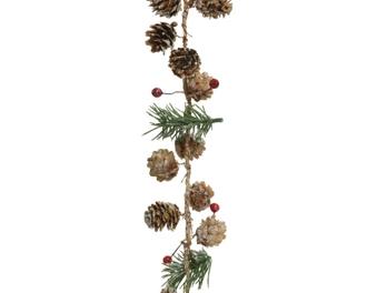 Guirlande sapin artificiel avec baies et pommes de pin 150cm