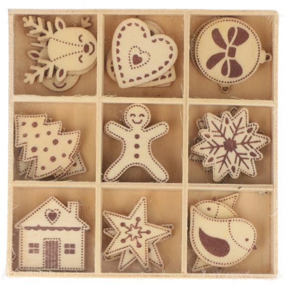 Achat en ligne Lot de 9 mini formes en bois noel à décorer 27 pieces