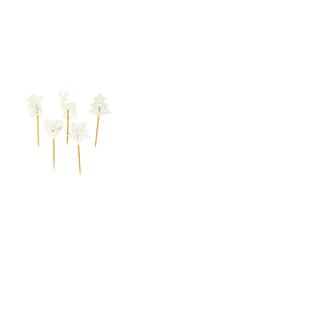 Décors de noel sur pique en bois blanc pailleté