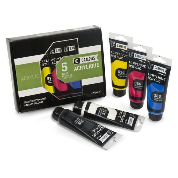 Achat en ligne Set 5 tubes peinture acrylique couleurs primaires 100 ml
