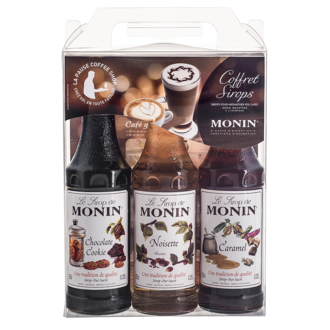 MONIN - Coffret Barista Chocolat cookie, Noisette, Caramel +pochoirs
