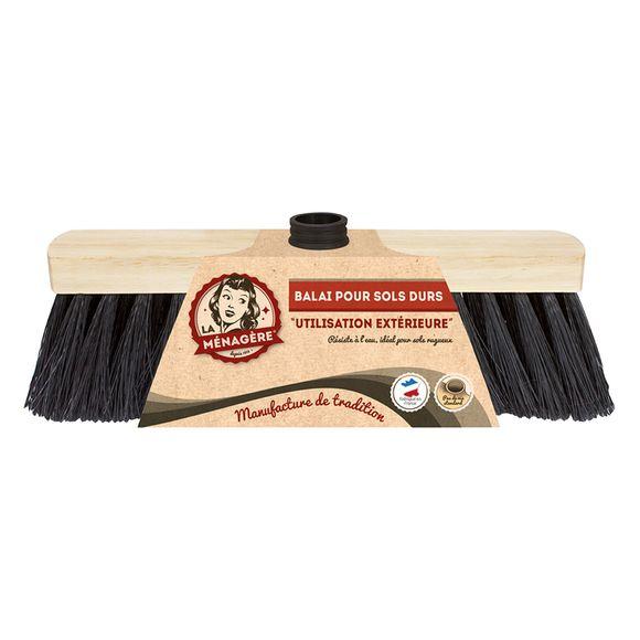 Tête de balai en bois pour sol dur tradition