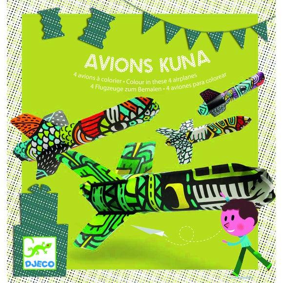 Jeu de 4 Avions à colorier Kuna