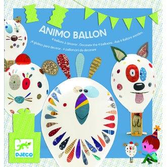 Jeu de 4 ballons à décorer animaux