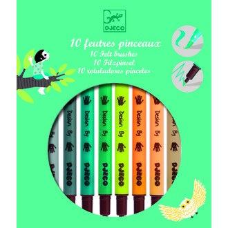 DJECO - Set de feutres pinceaux dotés d'une pointe fine et d'une pointe pinceau
