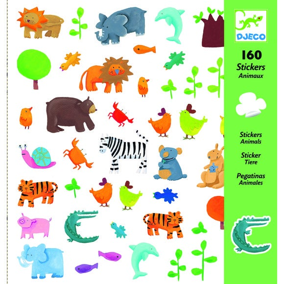 160 mini-stickers animaux
