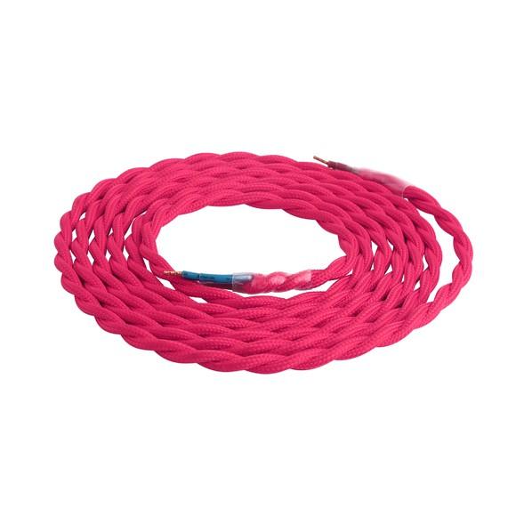 Achat en ligne Câble avec double isolation en coton tressé rose 2m