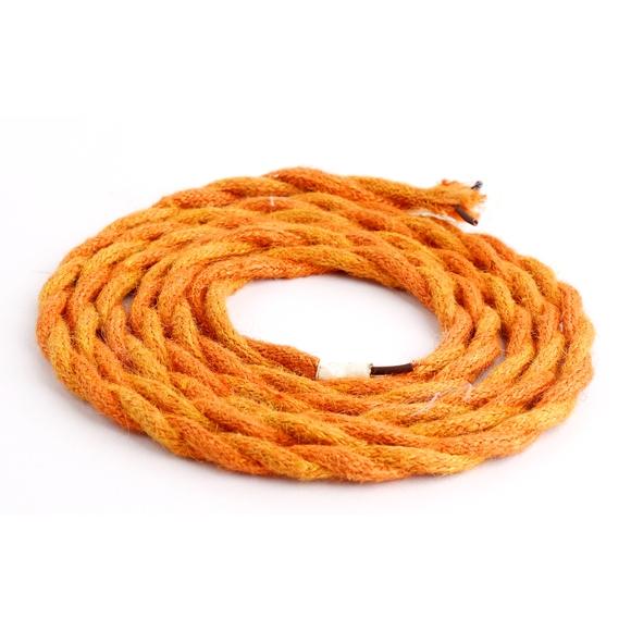 Achat en ligne Câble tressé à double isolation en coton orange 2m