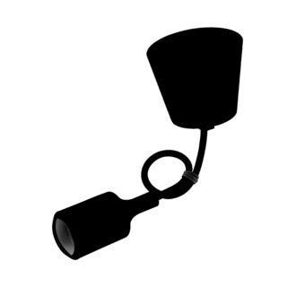 Monture en silicone noir avec cable noir 60cm e27