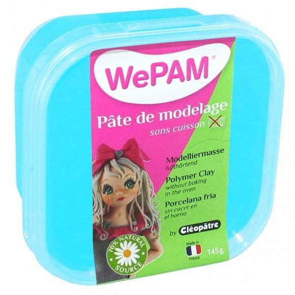 Pâte de modelage sans cuisson turquoise WePam en pot 145 g