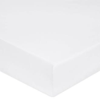 Drap housse 90x200cm en percale de coton blanc
