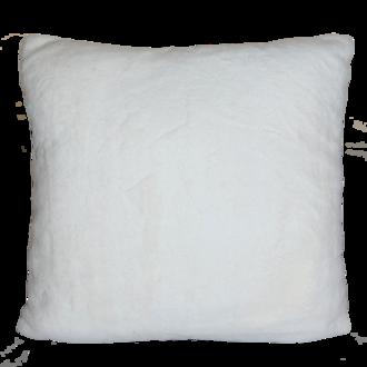 Coussin fausse fourrure rabbit blanc 40x40 cm