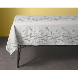 Tovaglia rettangolare in cotone con fiori, bianco 150x250cm