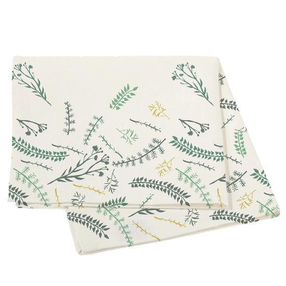 Set 2 tovaglioli in cotone con fiori bianco, 40x40cm