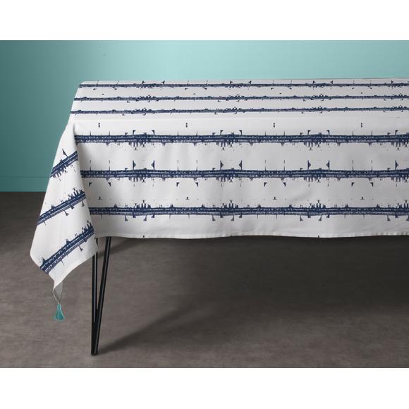 Tovaglia 150 x 250 cm in cotone bianco e blu Malmo
