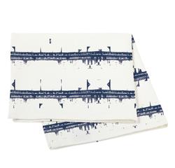 Achat en ligne Nappe 150x250cm en coton imprimé bleu et blanc Malmo