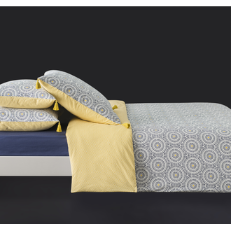 MAOM - Taie d'oreiller rectangle en percale à pompons encre Tribana 50x70cm
