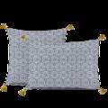 Taie d'oreiller carrée percale pompons encre Tribana65x65cm