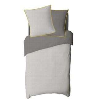 ZODIO - Housse de couette en coton imprimée Clea cendre 140x200cm
