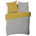Copripiumino piazza e mezza in cotone percalle grigio e giallo
