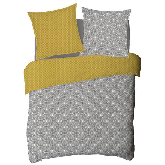 acquista online Copripiumino piazza e mezza in cotone percalle grigio e giallo
