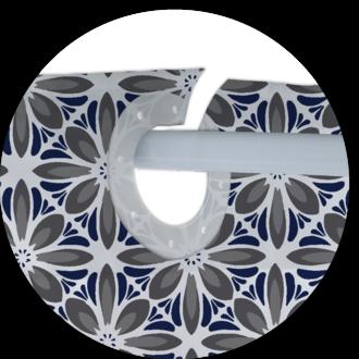 ZODIO - Rideau de douche 100% polyester encre Tobia 180x200cm