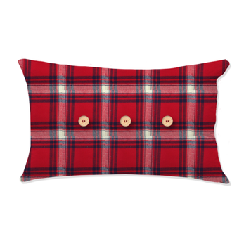 Zodio- coussin tissé flanelle tartan rouge perth 30x50cm