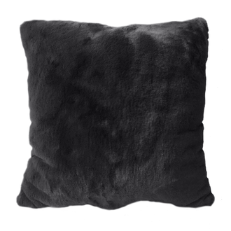 Coussin en fausse fourrure gris charbon olga 40x40cm