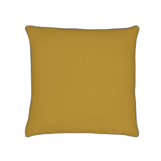 Taie d'oreiller en percale avec bourdon jaune curry 65x65cm