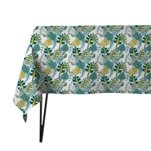acquista online Tovaglia 150 x 150 cm in cotone con stampa foglie verde Lanoe