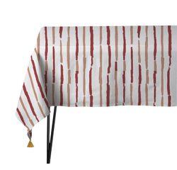Achat en ligne Nappe 150x150cm en coton imprimé rouge et blanc Souston