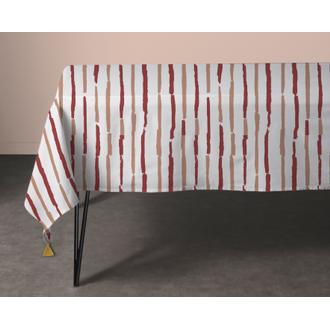 Nappe 150x150cm en coton imprimé rouge et blanc souston