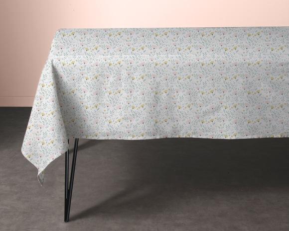 Achat en ligne Nappe 150x150cm en coton imprimé fleuri vert et jaune Emily
