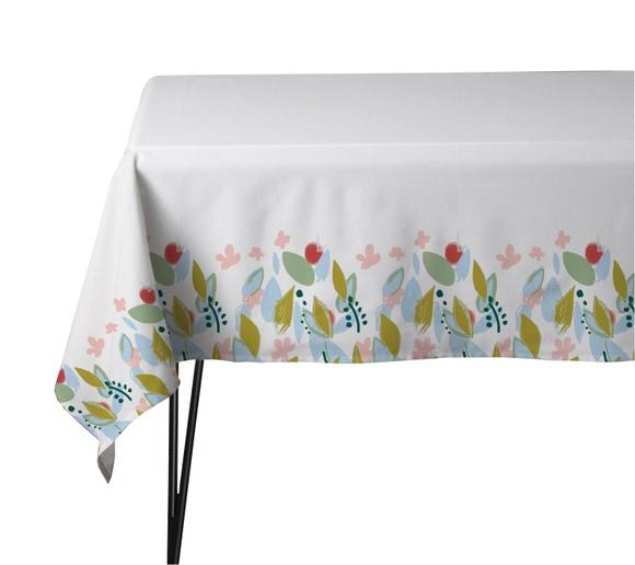 Achat en ligne Nappe 150x150cm en coton imprimé fleuri blanc Pintorre