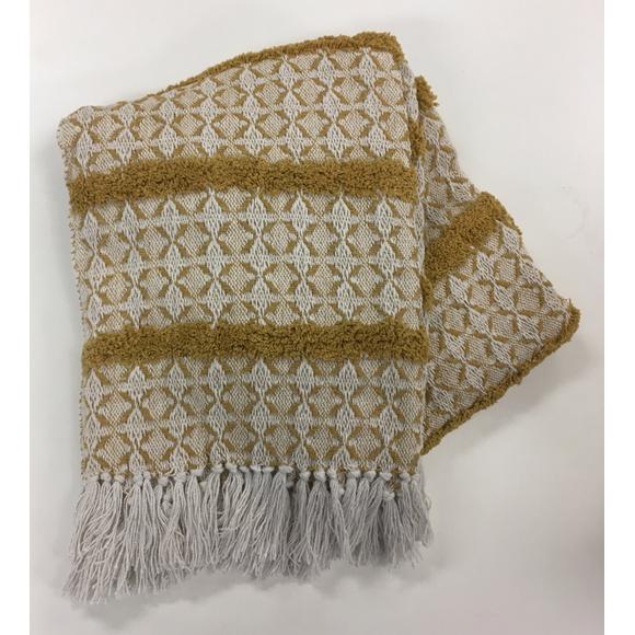 Plaid en coton tissé à motifs jaune curry Luiro 125x150cm