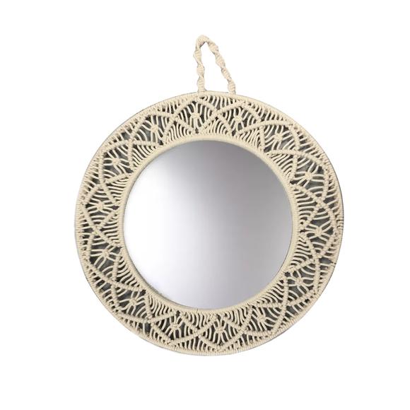Miroir rond macramé écru alambra 45cm