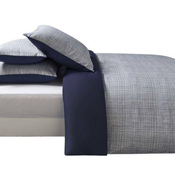 acquista online Federa in cotone percalle righe blu 50x70