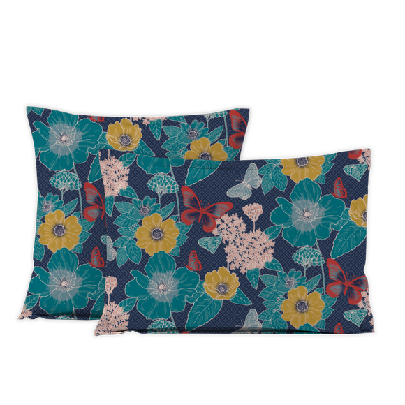 acquista online Federa in cotone percalle a fantasia floreale 50x70