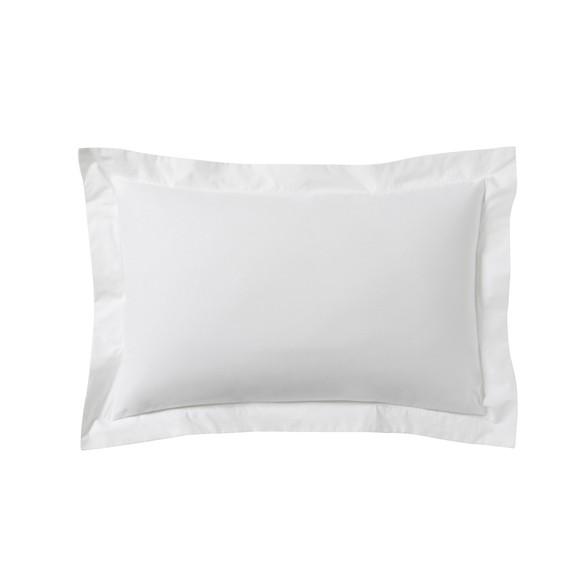 Federa in cotone bianco con bordo tono su tono 50x70cm