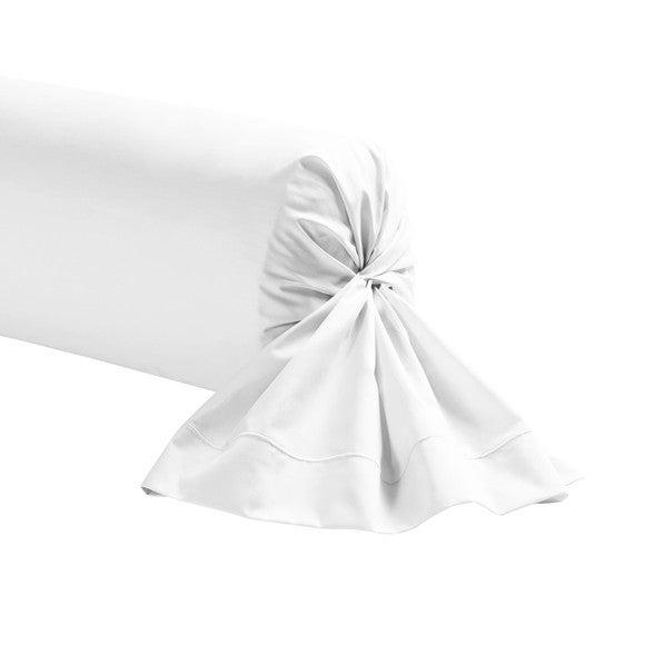 Taie de traversin rectangle en coton blanc 44x185cm