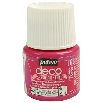 PEBEO - Peinture acrylique brillante rose vif en tube 45 ml