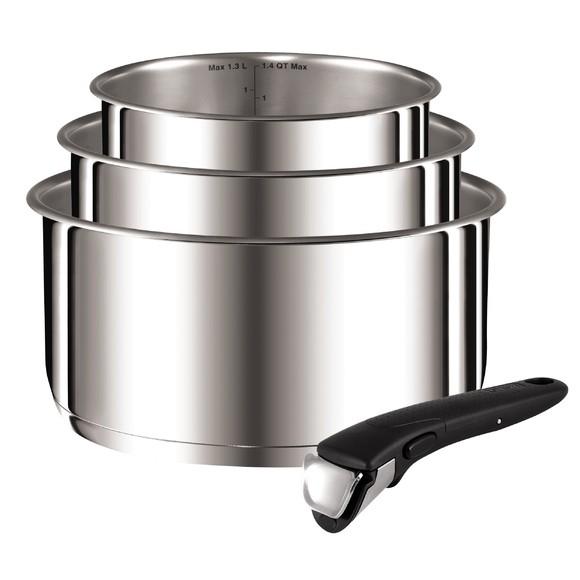 Set 3 casseroles avec poignée amovible Ingenio 16,18 et 20cm